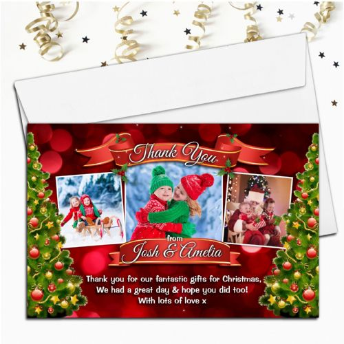 10 Personalised Christmas Xmas Gift Thank you PHOTO Cards Notes N56